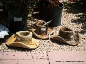 Cast Concrete Cowboy Hat Planters